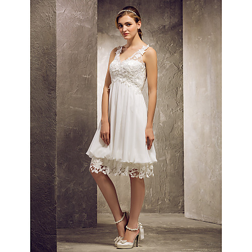 Платье для свидетельницы из шифона и кружева с V-образным вырезом, длиной до колен Lightinthebox 2921.000