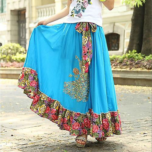 богема высокая талия цветочный шить Павлин шаблон женщин длинные юбки с поясом (цветочный узор случайных доставки) Lightinthebox 1200.000