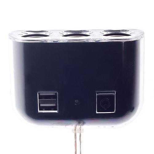 Olesson 1505 от 1 до 3-полосная автомобиля гнездо прикуривателя Splitter ж / USB-порт - белый (12 ~ 24V) Lightinthebox 386.000