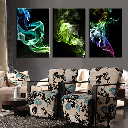 Натянутым холстом постер Абстрактные красочные дыма набор из 3 Lightinthebox 2577.000