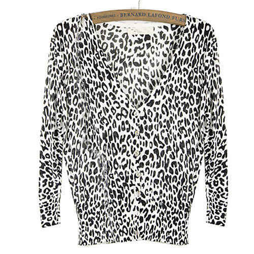 Женская леопардовый Повседневная Туника Кардиган Трикотаж Свитер Блузка
