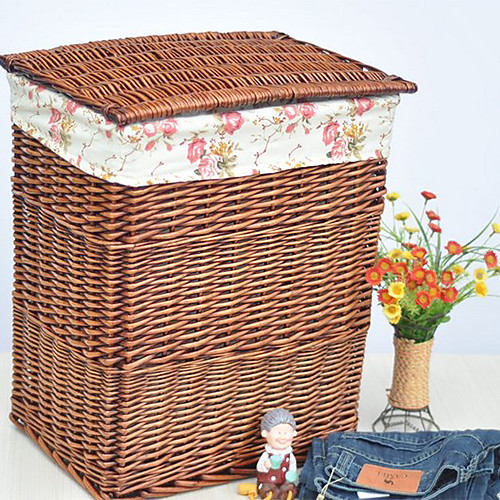 Классический Высокий Бежевый ротанга корзина хранения с цветочным узором Подкладка Lightinthebox 1718.000
