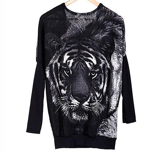 Женская Новый стильный Перемычка Тигр Распечатать Пуловеры Летучая мышь Вязание вскользь Топы Lightinthebox 474.000