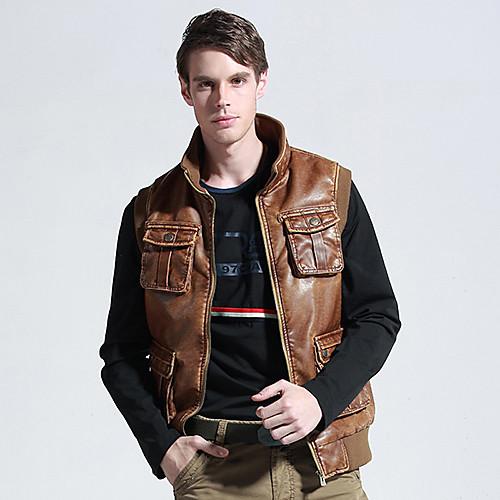 Мужская Досуг Мода Браун кожаный жилет Lightinthebox 1675.000