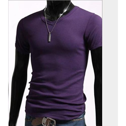 U & F Мужчины Народной Фиолетовый V-образным вырезом Встроенная Футболка Lightinthebox 343.000