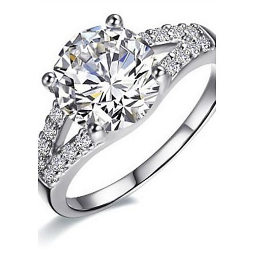 Кольцо женское серебристое с кристаллом 2 карата, свадебная тематика Lightinthebox 1503.000