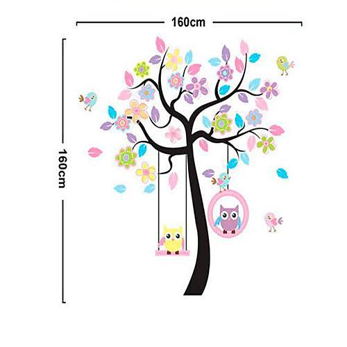 Совы и деревья шаблон DIY клей Съемный Наклейки на стены Lightinthebox 644.000