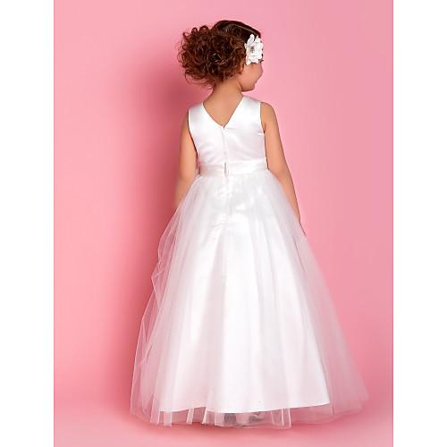 -линии жемчужина длиной до пола, тюль и атласная Детские платья (733928) Lightinthebox 4296.000