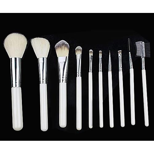 Про Высокое качество 10 шт Природный козьей шерсти набор кистей Макияж с белым мешком Lightinthebox 463.000