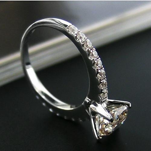 1 квадратный карат сократить 925 серебристый белый позолоченные яркий Сона кристалл кольцо с бриллиантом для женщин свадьбы Lightinthebox 3630.000
