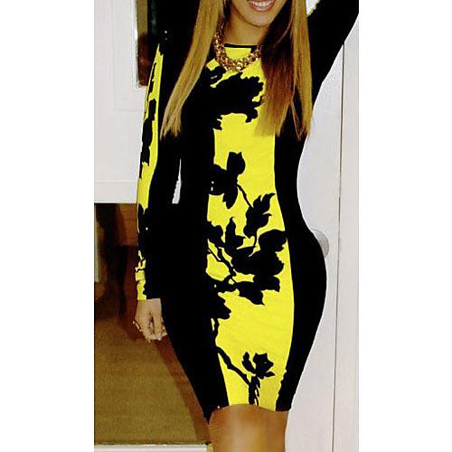 S & Z Женская Желтый Сращивание цветочным принтом платье Lightinthebox 730.000