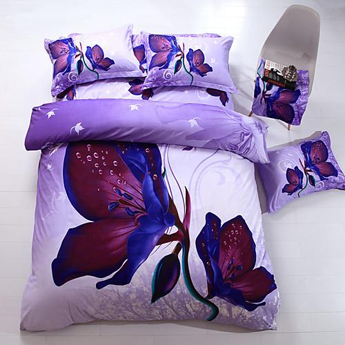 Комплект постельного белья из 4 предметов с цветочным 3D принтом