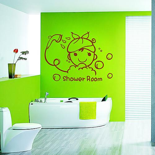 Шаблон Симпатичный мультфильм душевая комната Окно наклейки Lightinthebox 300.000