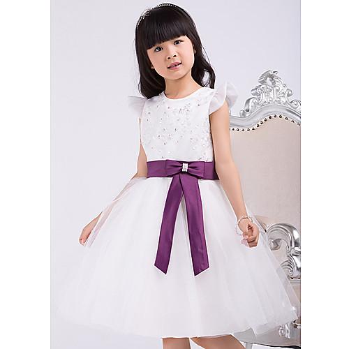 Онлайн Принцесса Jewel длиной до колен атласные и тюль платье девушки цветка с луком Lightinthebox 1718.000