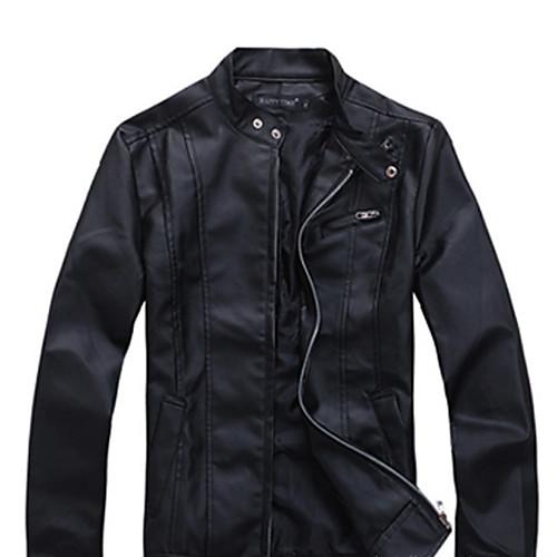 U & F Мужчины людей черный Стенд шеи Pu кожаная куртка мотоцикла Lightinthebox 1624.000
