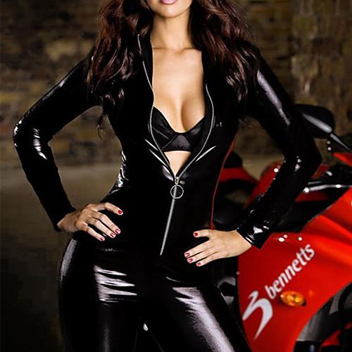 Сексуальная ночь идет женщина Черная ПВХ Catsuit Lightinthebox 1718.000