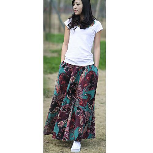 Ретро мода простые хлопок конопли Цветочные кармашками с обеих сторон Разноцветные Женщины в длинных юбках Lightinthebox 1005.000
