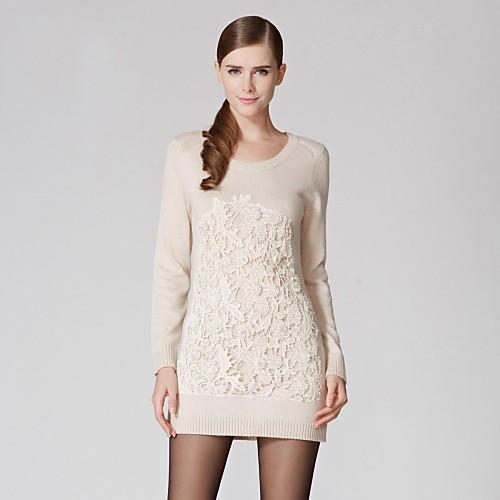 Женская Простой шею длинным рукавом Повседневный свитер Lightinthebox