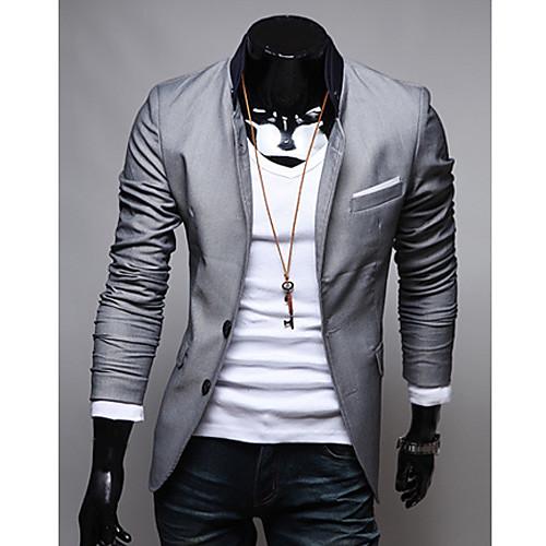 KICAI Мужская сплошной цвет Повседневная Blazer (серый) Lightinthebox 1374.000