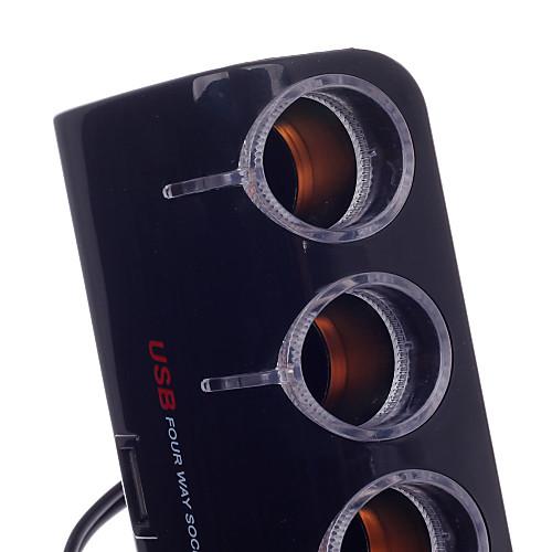 Yeleno Y-084 от 1 до 4-полосная автомобиля гнездо прикуривателя Splitter ж / USB-порт - черный (12 ~ 24V) Lightinthebox 429.000