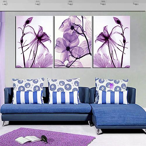 Натяжные Печать холст Art Ботанический Фиолетовый Лепестки набор из 3 Lightinthebox 3007.000