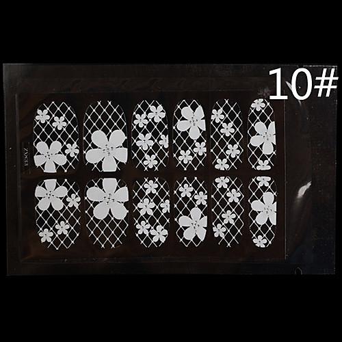 12PCS белого кружева Прозрачный с горный хрусталь Блеск Свадьба ногтей наклейки цветок решетки Lightinthebox 128.000