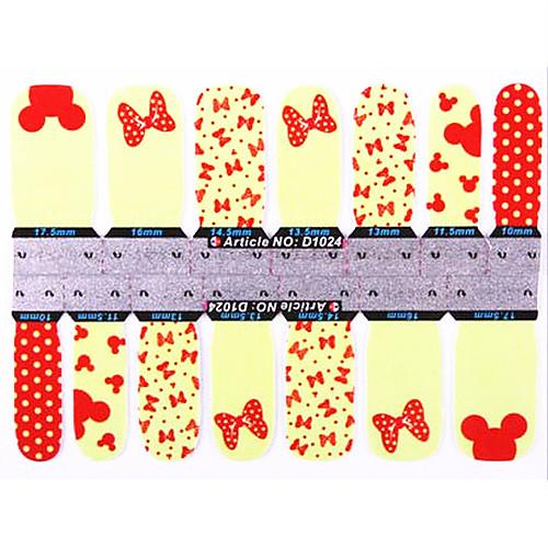 1x14PCS 1-Pattern мультфильм Микки Маус бабочки Полный покрова ногтей Наклейки Lightinthebox 128.000