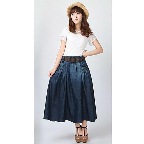 мода простые кнопки карманы  бесплатное распространение случайных стиль ремень джинсовые длинные юбки Lightinthebox 1563.000