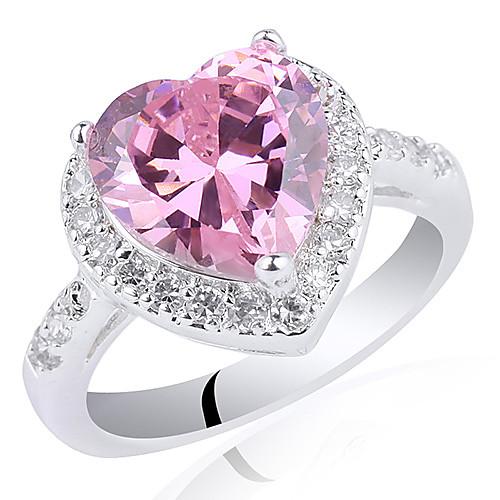 Chic Женщины Серебряное кольцо с 10мм форме сердца Цирконий Lightinthebox 1546.000