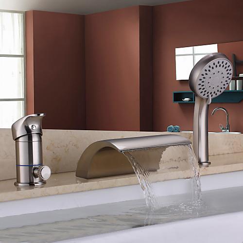 Смеситель-водопад никелированный матовый для ванной с ручным душем Lightinthebox 8164.000