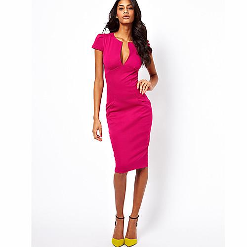 Миди-платье карандаш с глубоким V-образным вырезом, сооблазнительный стиль Lightinthebox 837.000