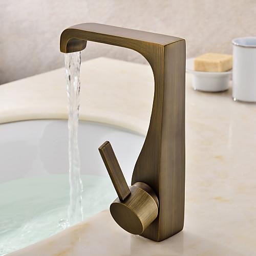 одной ручкой античная латунь отделка ванной комнаты Centerset раковина кран Lightinthebox 4296.000