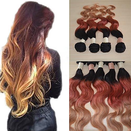 20inch большой 5а бразильского Виргинские человеческих волос волны Ombre тело выдвижения волос / ткать (1b/33 # / 27 #) Lightinthebox 5800.000