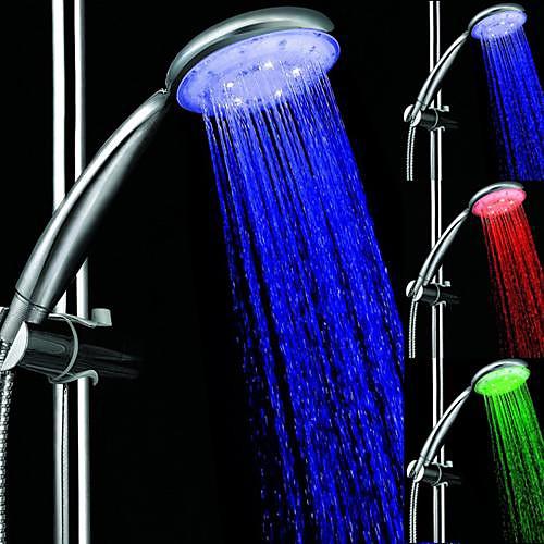 3 цвета Округлые регулятором температуры Светодиодный свет Топ Spray насадка для душа для ванной душ с хромированными Lightinthebox 1718.000
