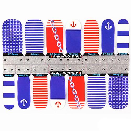 1x14PCS 1-Pattern Мода Лодка Якорные Полное покрытие ногтей Наклейки Lightinthebox 128.000