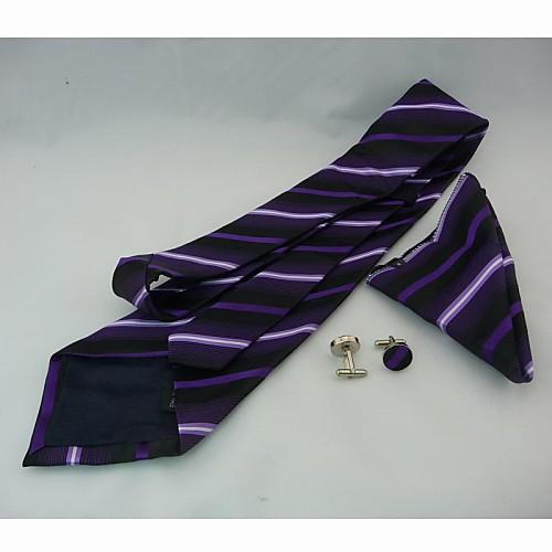 Мода мужская повседневная полосы Фиолетовый Галстук Запонки Косынка расположен на раунда (ширина: 10 см) Lightinthebox 1030.000