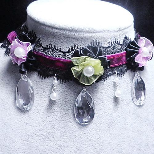 Ручной Черное кружево Готическая Лолита ожерелье с атласной цветок и Gemstone Lightinthebox 240.000