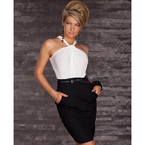 ML Плюс размер платья Новая мода Женщины Brief Черно-белый Холтер Повседневная Bodycon мини платье с поясом ПР платье работы 9015