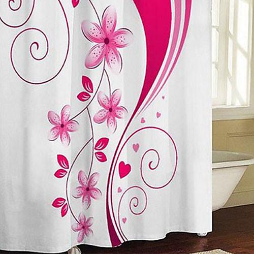 Душевая занавеска Современные Розовый цветочный принт плотной ткани Водонепроницаемость W71