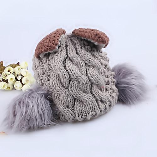 Женская Симпатичные Теплый трикотажные Bobble Hat Серый Lightinthebox 644.000