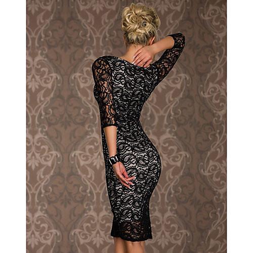 ML XL XXL Плюс Размер Freeshipping Новая мода Женщины Черный Осень с длинным рукавом длиной до колен Bodycon Платье Lightinthebox 816.000