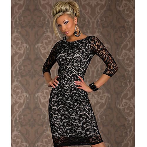 ML XL XXL Плюс Размер Freeshipping Новая мода Женщины Черный Осень с длинным рукавом длиной до колен Bodycon Платье