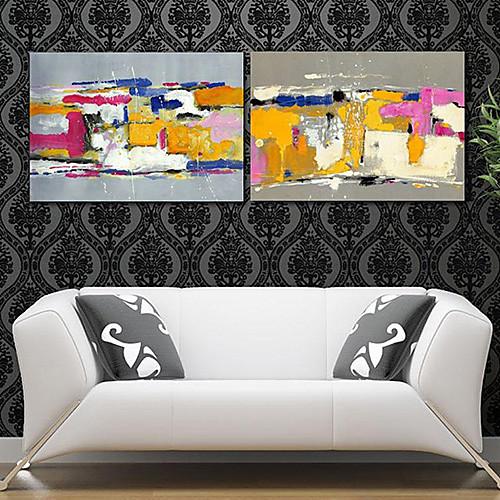 Натянутым холстом печати Арт Абстрактный красочный десен Набор из 2 Lightinthebox 2148.000