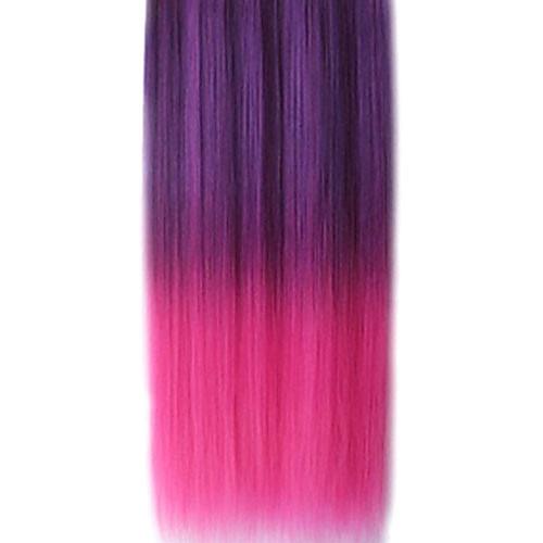 25-дюймовый Ролик в синтетических Straight наращивание волос фиолетовый и розовый градиент с 5 зажимами Lightinthebox 1159.000