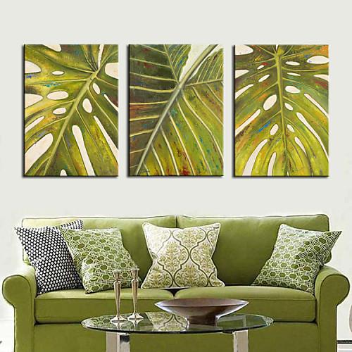 Натяжные Печать холст Art Ботанический Green Leaf набор из 3 Lightinthebox 3007.000