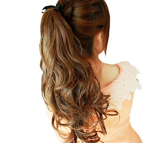 20-дюймовый ленточку Синтетические Темно-русый Волнистые Ponytail Наращивание волос Lightinthebox 979.000
