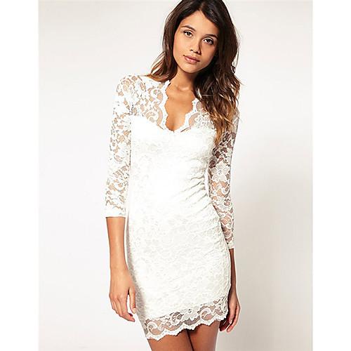 Платье кружевное короткое с длинным рукавом, фасон обтягивающий элегантный Lightinthebox 753.000