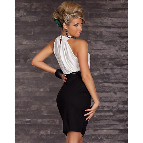ML Плюс размер платья Новая мода Женщины Brief Черно-белый Холтер Повседневная Bodycon мини платье с поясом ПР платье работы 9015 Lightinthebox 644.000