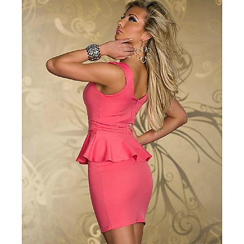 Мини-платье с баской и глубоким декольте, силуэт обтягивающий Lightinthebox 949.000