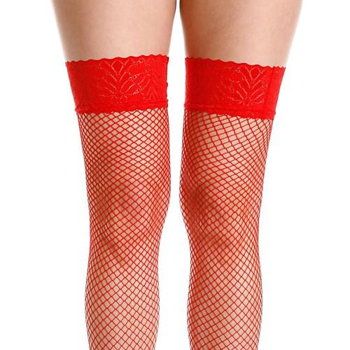 Sexy ажурные бедро высокие чулки с кружевом Черный топ красный и белый Lightinthebox 139.000